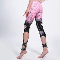 Gradient Styles Strappy Leggings Cherry Blossoms Print Fitness Slim Sexy Bandage Legging Athleisure Elastic Jeggings Pants