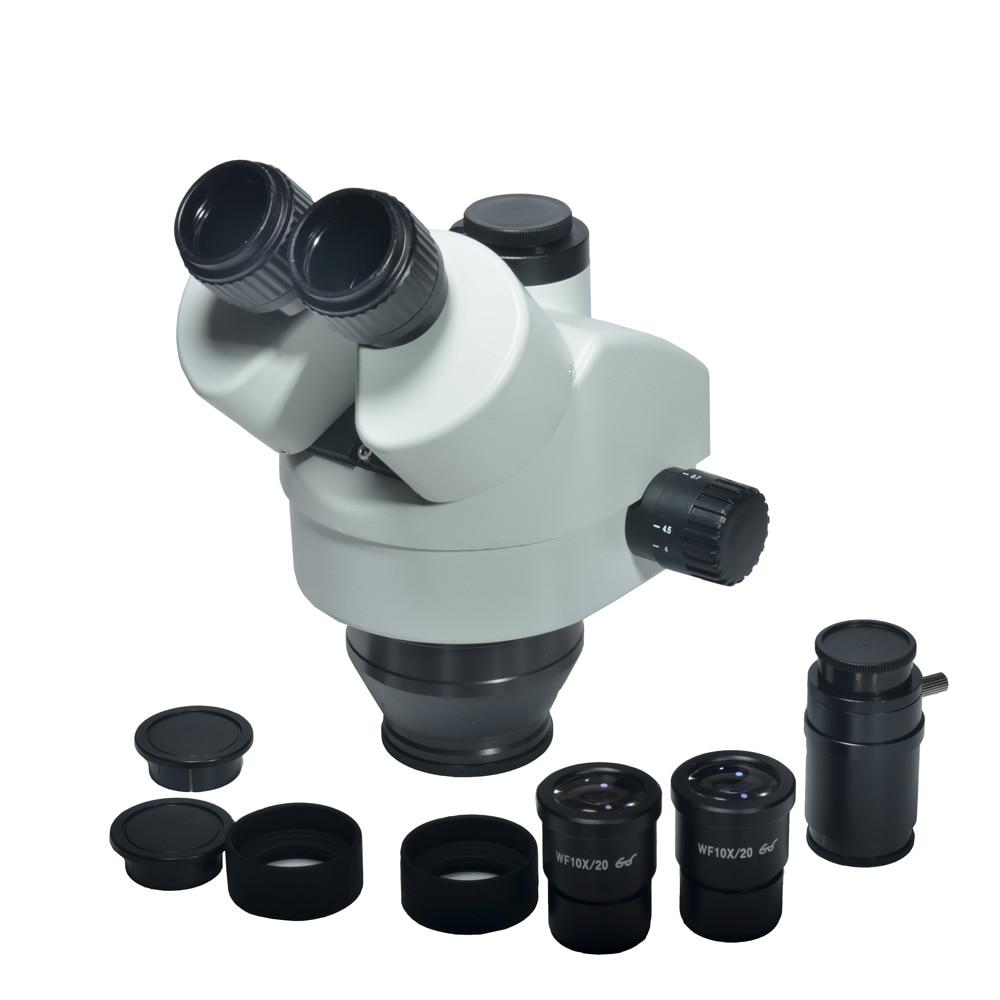 Simul-focal 7X-45X Trinocular Cabeça de Microscópio Estéreo Zoom Simul-focal Lente Ocular do Microscópio Industrial WF10X 20mm
