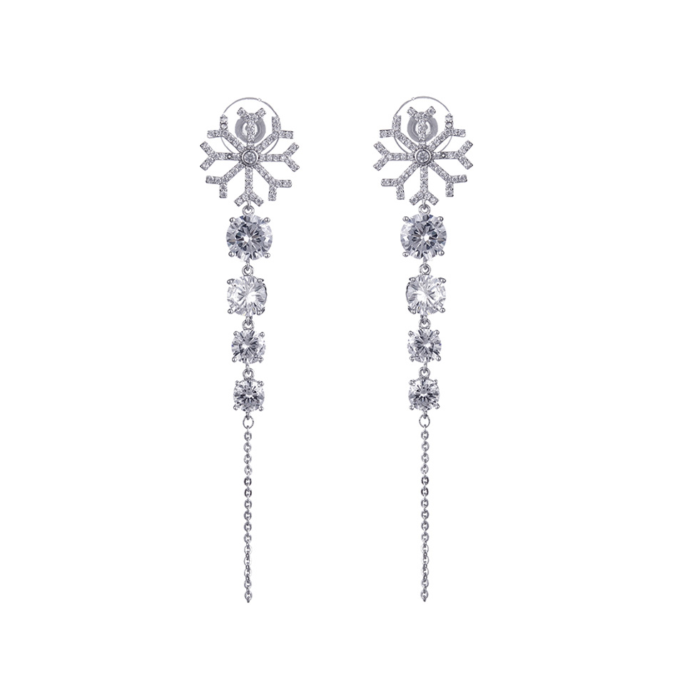 Statement Earings Fashion Jewelry Metal Zircon Snow Long Tassels Drop Earring Women Party Gift Girls Dress Accessories Valentine in Drop Earrings from Jewelry Accessories