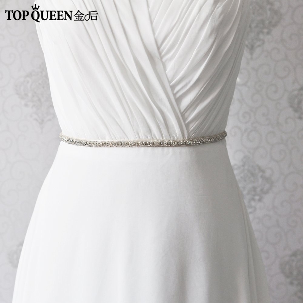 TopQueen S217 Wedding Belt Rhinestone Wedding Belt Thin Belt Long Narrow Wedding Dress Accessories In Stock Bridal Sash 1CM