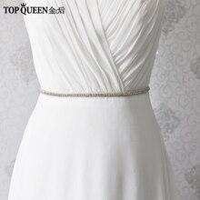TopQueen S217 Wedding Belt Rhinestone Wedding Belt Thin Belt