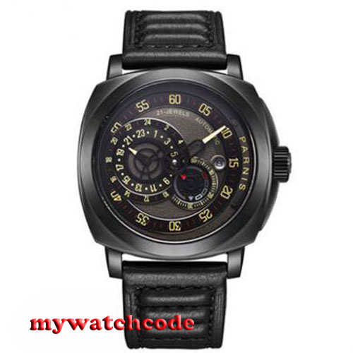 44mm parnis black dial Sapphire Glass black PVD case automatic military mens Watch