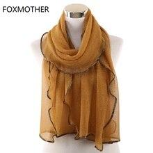 Gold Sliver Shiny Shimmer ผ้าพันคอ Foulard De Mousseline Wrap แวว Lurex ผ้าพันคอผ้าพันคอ Hijab อิสลามอาหรับผ้าพันคอ Hijab