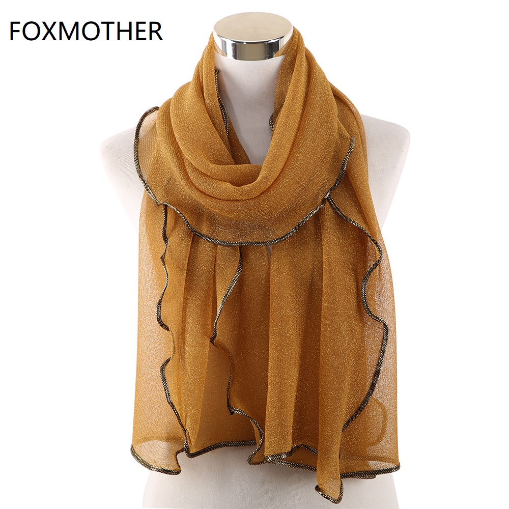 Gold Sliver Shiny Shimmer Scarfs Foulard De Mousseline Wrap Lurex  Glitter Hijab Shawl Scarves Islamic Arab Head Scarf HijabWomens  Scarves