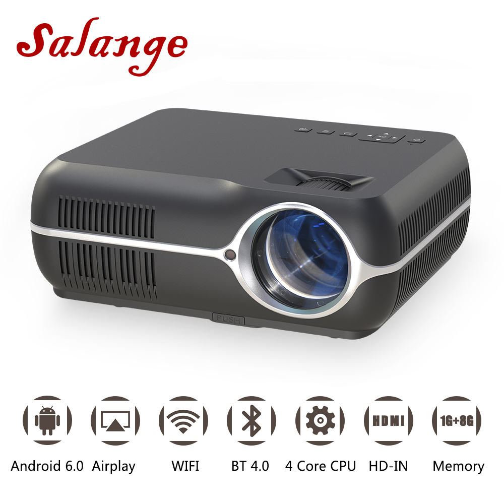 Salange A10 LED Projector 1080P Android 6.0 4200 Lumens WIFI HDMI Bluetooth Home Theater Full HD Projetor Video Beamer Proyector for nissan x trail t32 2014 2018 car rearguards stainless steel rear bumper trunk fender sill plate protector guard covers trim