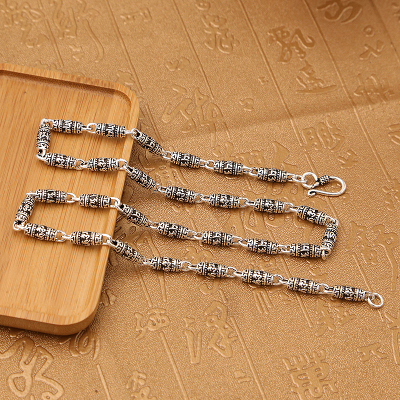 Factory Wholesale S925 Sterling Silver Jewelry Retro Thai Silver Six-word Mantra Barrel Beads Trend Men And Women NecklaceFactory Wholesale S925 Sterling Silver Jewelry Retro Thai Silver Six-word Mantra Barrel Beads Trend Men And Women Necklace
