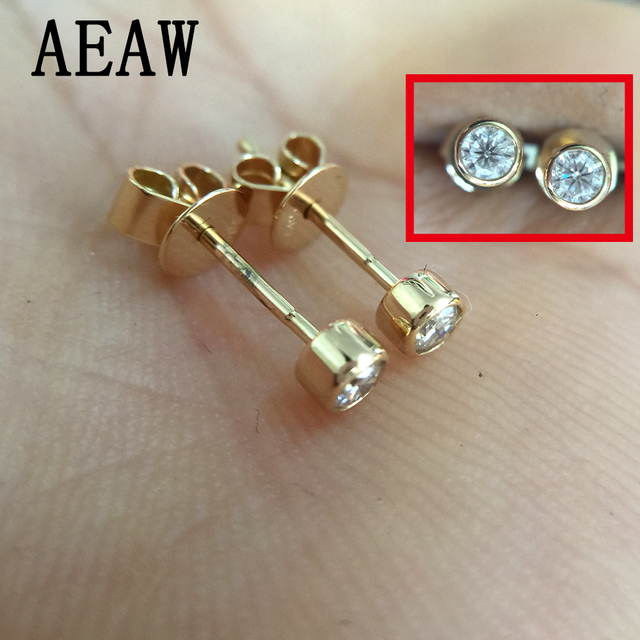 0 6 Cttw Round Excellent Loose 3mm Moissanite Earrings 14k Yellow Gold Stud For Women