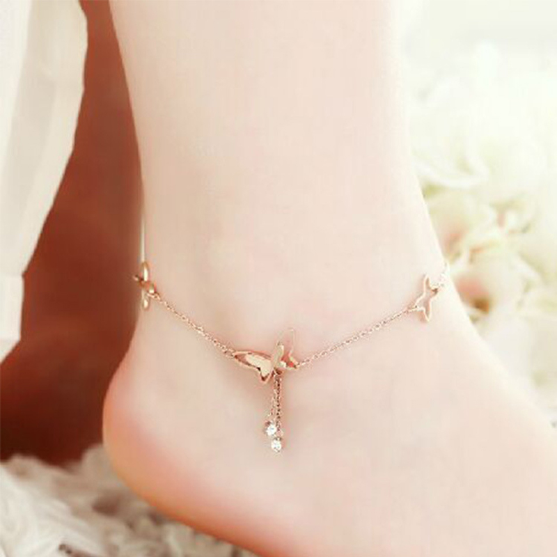 Beautiful Tassel Anklets Casual Beach Vacation Anklets Bracelets Jewelry Ankle Chain New Butterfly Single Rose Gold Anklet