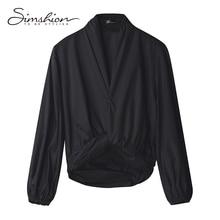 Simshion 2017 Women Fashion Shirring Blouse Shirts Long Lantern Sleeve Casual V-neck Ladies Shirts Black Blue White Size S M