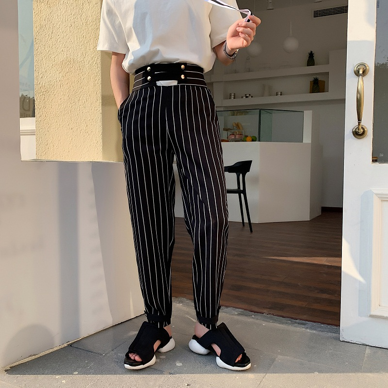 EMAIGI Men High Waist Stripe Casual Hip Hop Harem Trousers Male Women Suit Pants