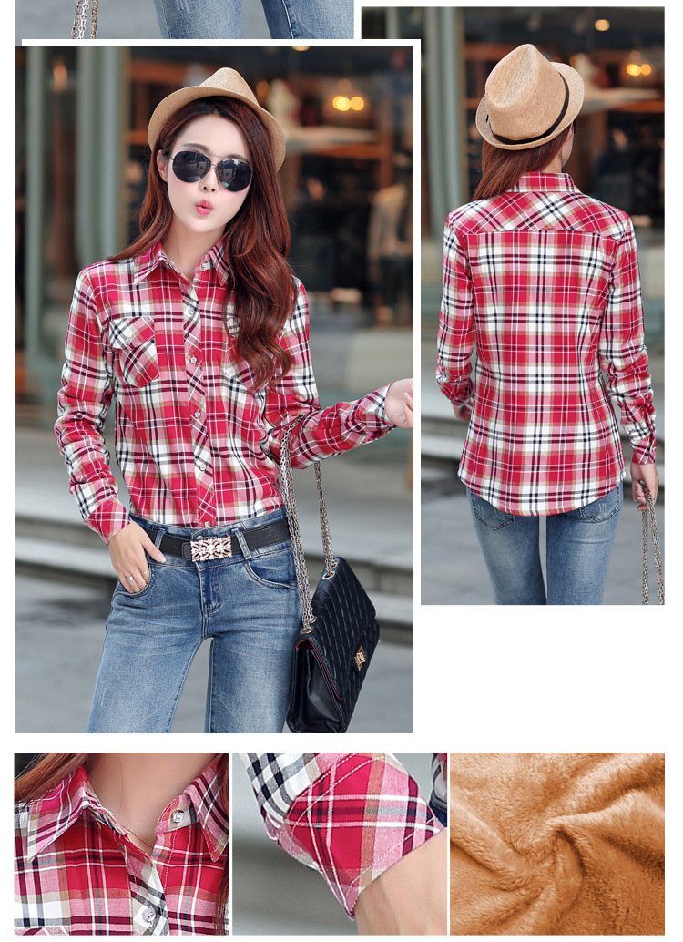 19 Brand New Winter Warm Women Velvet Thicker Jacket Plaid Shirt Style Coat Female College Style Casual Jacket Outerwear 33