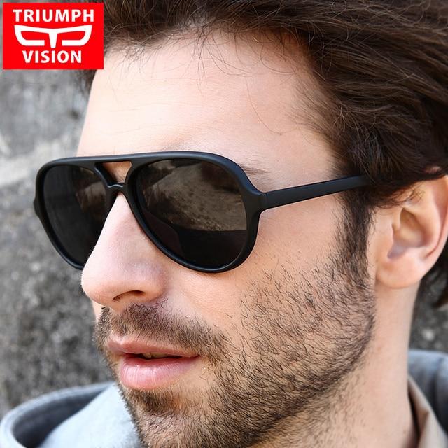KEMENANGAN VISI Hitam Aviator Sunglasses Pria Merek Shades Oculos Laki-laki  Asli Percontohan Kacamata Matahari 26229cedae
