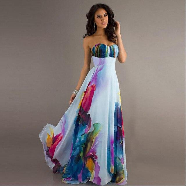 Plus Size Blumendruck Kleid Hochzeit Sexy Schulterfrei Entwurfs ...