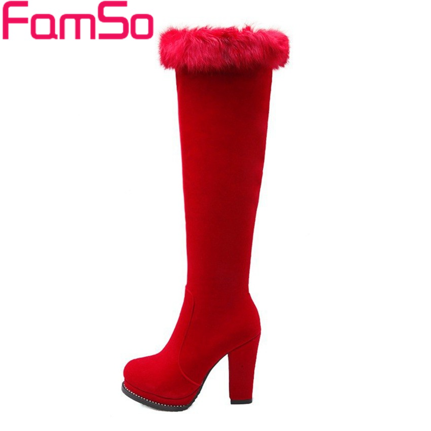 Plus Size34 43 2016 New Sexy font b Women b font Long Knee High Boots Black