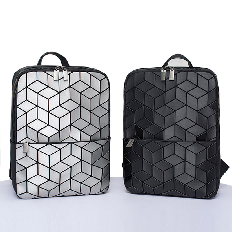 Unisex Geometric Sequin Laptop Backpack Hologram Folding Student Zipper Anti Theft Backpacks Casual Rucksack Travel Daypack