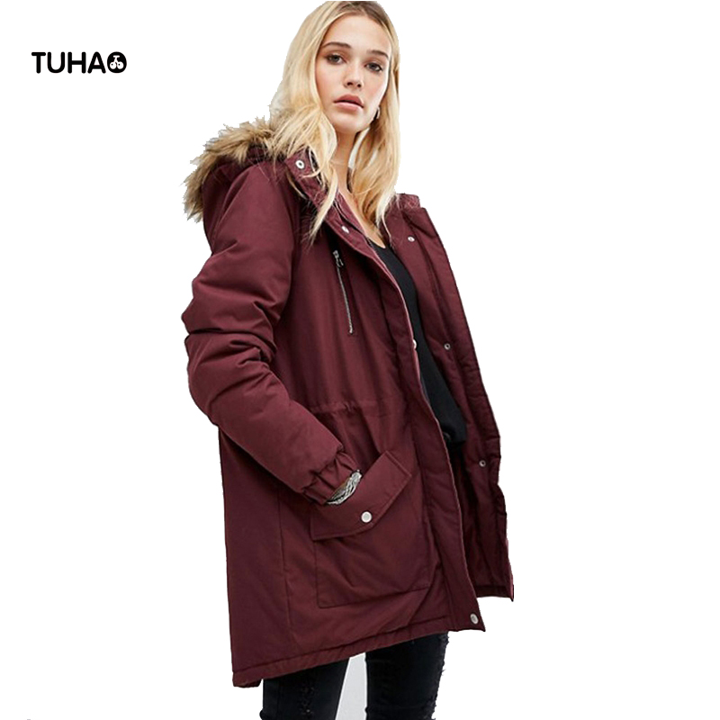 2017 Winter Jacket Women Parkas Pocket Hooded With Fur Trim Drawstring Slim Waist Warm Coats Jaqueta Feminina Inverno T90035 casio xj a147