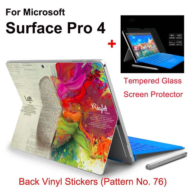 2017 Hot Sale For Surface Pro 4 Tablet Vinyl Decal Netbook Brain Skin Stickers+Explosion-proof Tempered Glass Screen Protector