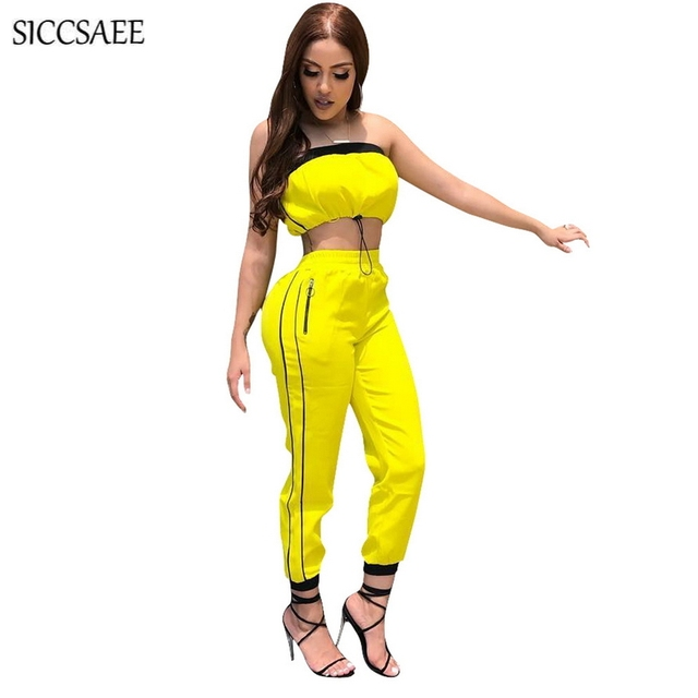 a41c867a3f Strapless Outfits Striped Side Long Pants Suit Two Piece Set Women Yellow  Palazzo Pants Ruched Crop Top Tube Sweat Suit Sexy
