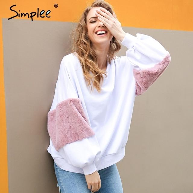 Simplee Primavera faux fur hoodies sudadera Casual sudadera blanca de gran tamaño de las mujeres remiendo de la manera de manga larga pullover jumper