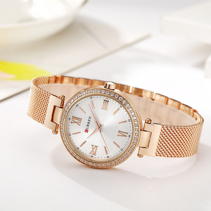 Image 3 - CURREN Rose Gold Watch Women Watches Ladies Stainless Steel Womens Bracelet Watches Female Relogio Feminino Montre Femme 9011