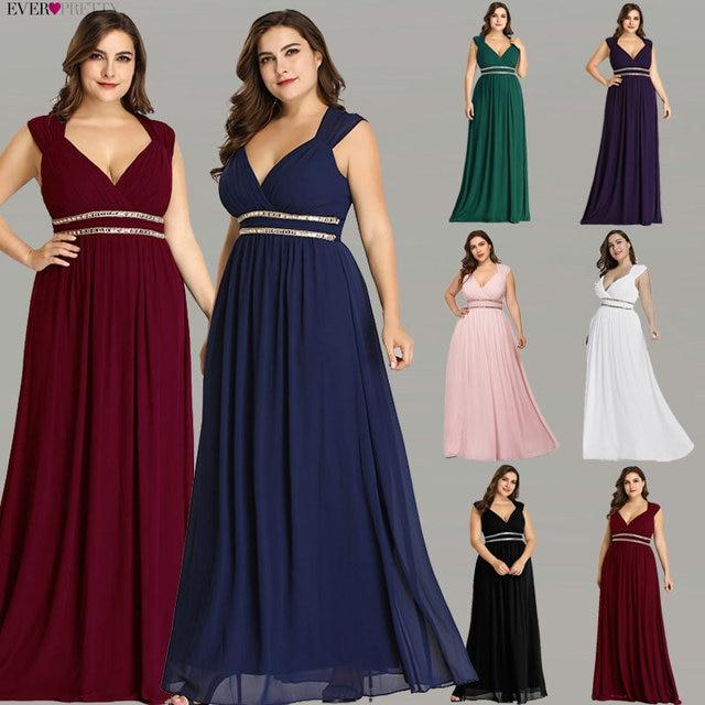 Ever Pretty Plus Size Formal Evening Dresses Long Women Elegant Burgundy V Neck Chiffon Empire Party Gown Robe De Soiree EP08697
