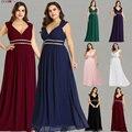 Вечерние платья Ever Pretty размера плюс  длинные элегантные бордовые шифоновые вечерние платья с v-образным вырезом  EP08697
