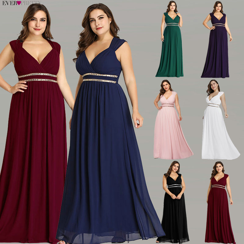 Ever Pretty Plus Size Formal Evening Dresses Long Women Elegant Burgundy V Neck Chiffon Empire Party Gown Robe De Soiree EP08697 in Evening Dresses from Weddings Events