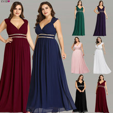 Ever Pretty Plus Size Formal Evening Dresses Long Women Elegant Burgundy V Neck Chiffon Empire Party Gown Robe De Soiree EP08697