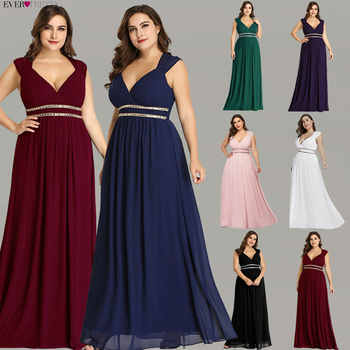 Ever Pretty Plus Size Formal Evening Dresses Long Women Elegant Burgundy V Neck Chiffon Empire Party Gown Robe De Soiree EP08697 - DISCOUNT ITEM  45% OFF All Category