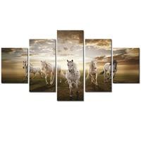 תמונות אמנות ממוסגר 5 יחידות באיכות גבוהה זול סוס ריצה גדול HD הבית מודרני וול דקור תקציר שמן הדפסת הבד ציור