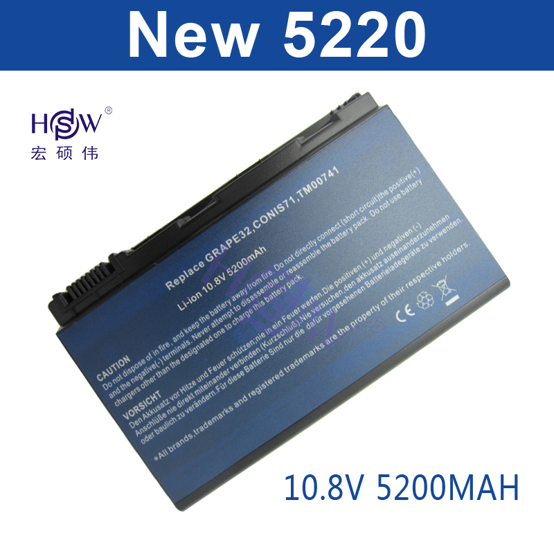 HSW 6cell Battery CONIS71 For ACER Extensa 5210 5220 5230 5420 5610 5620 5630 7220 7620 TravelMate 5230 5320 5520 5530 5710 5720 4400mah battery for acer extensa 5210 5220 5235 5420g 5620g 5620z 5630 5630g 5635 5635g 5635z 7220 7620 7620g grape32 grape34