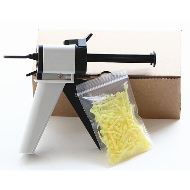 1 Unids Impresión Dental Equipo de Mezcla 1:1 Dispensador Dispensación Pistola Para Calafatear 50 ml + 100 Unids Puntas De Mezcla N1 Dentista materiales