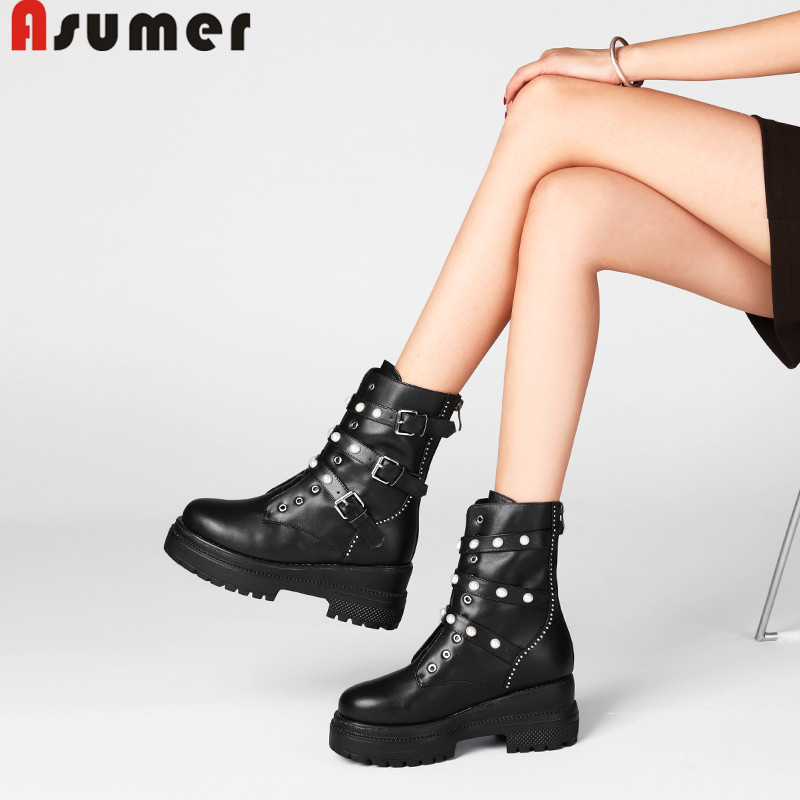 ASUMER Genuine leather boots fashion ankle boots for women platform botas buckle autumn winter boots buckle