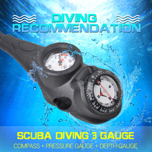 YONSUB Free sipping SCUBA diving 3 Gauge Diving pressure gauge + diving digital depth gauge + diving compass gauge needle gauge gauge pressure gauge set of 3