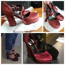 Big Size Pumps Women shoes Buckle Spring Autumn Breathable Flock Platform Strap 10cm High Thick heels sapatos