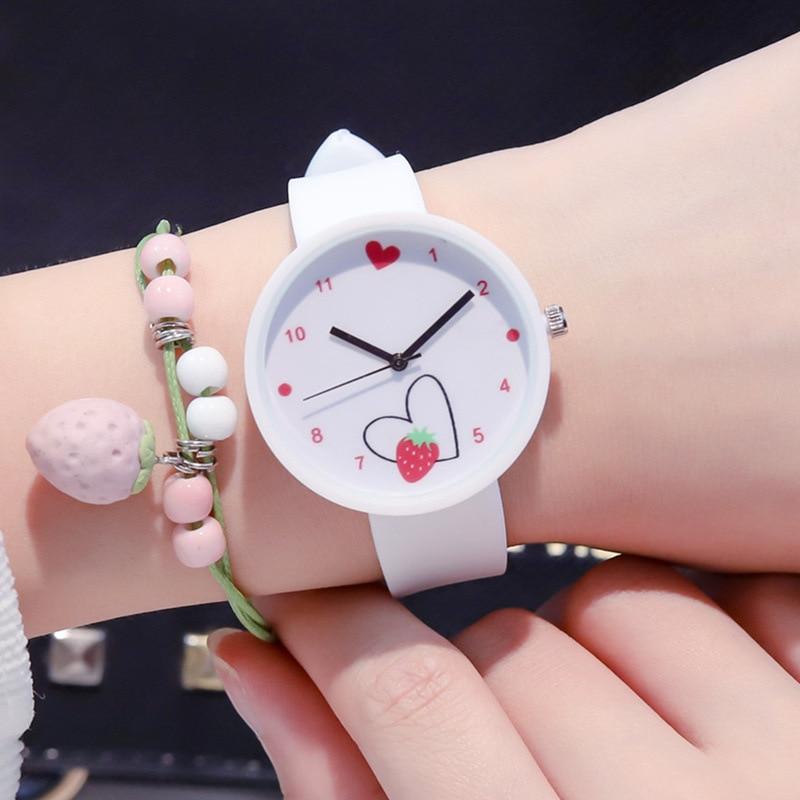 Ulzzang Brand Girls Quartz Wristwatch Fashion Casual Cute Watch Strawberry Love Heart Women Children Watch Jelly Sport Watches