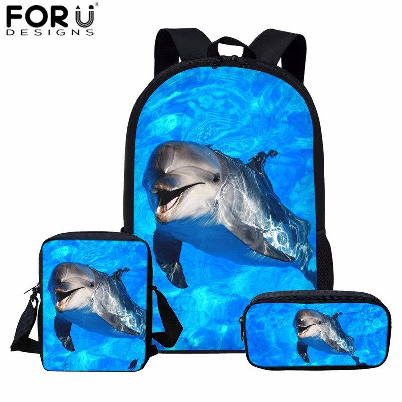 FORUDESIGNS Blue Dolphin Kids Backpack For Girls Sea Animal Print School Bag Set Children Daily Bagpack 3Pcs With Pencil Bag