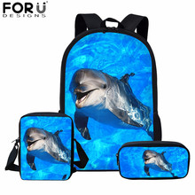 FORUDESIGNS Blue Dolphin Kids Backpack for Girls Sea Animal Print School Bag Set Children Daily Bagpack 3Pcs with Pencil