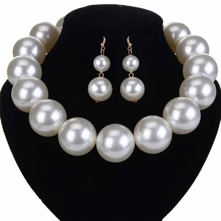 2019 Women Jewelry Set Resin Round Pearls Necklace Earrings Long Pearl Earring Statement Choker Colorful Green White Gold