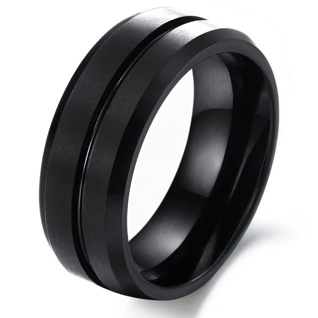 Personality Black Tungsten Wedding Rings For Man Fashion 8mm Width