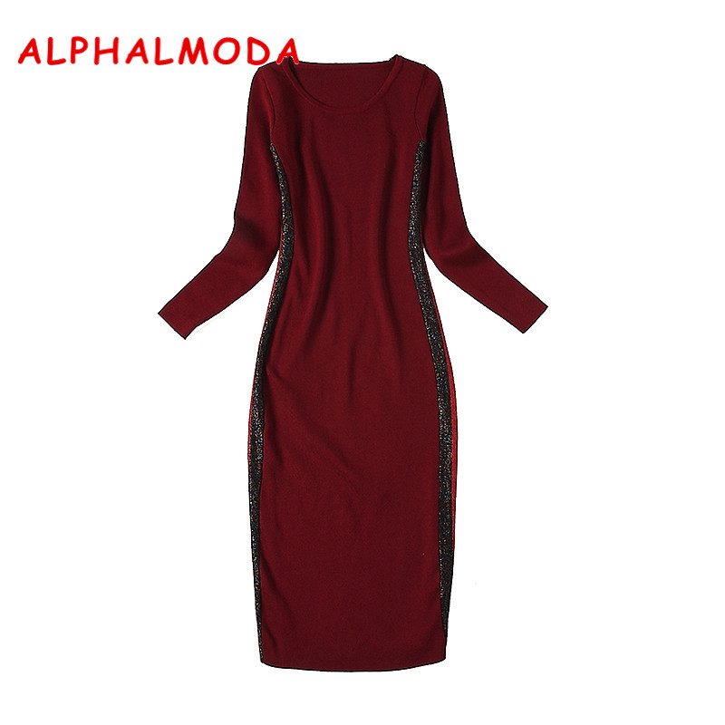 ALPHALMODA 2018 Autumn Winter Women's Knitted Bottom Dress Long sleeved Shining Striped Patchwork Slim Casual Knit Vestidos