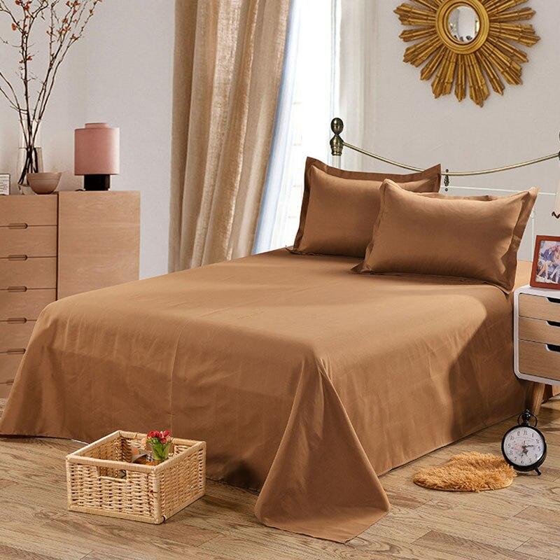 Простыня одноцветная плоская Простыня Постельное белье высокого качества постельное белье - Цвет: pure coffee