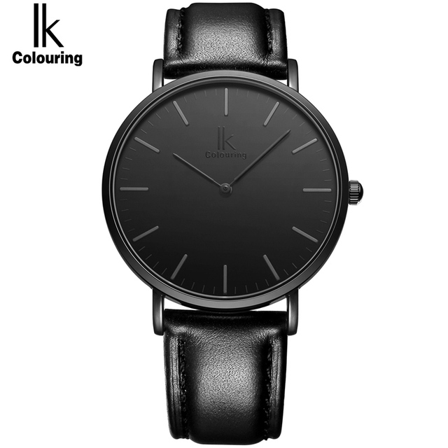 IK colouring Ultra Thin Minimalist Fashion Casual Mens Watches Top Brand Luxury Genuine Leather Strap Quartz Watch Business Man