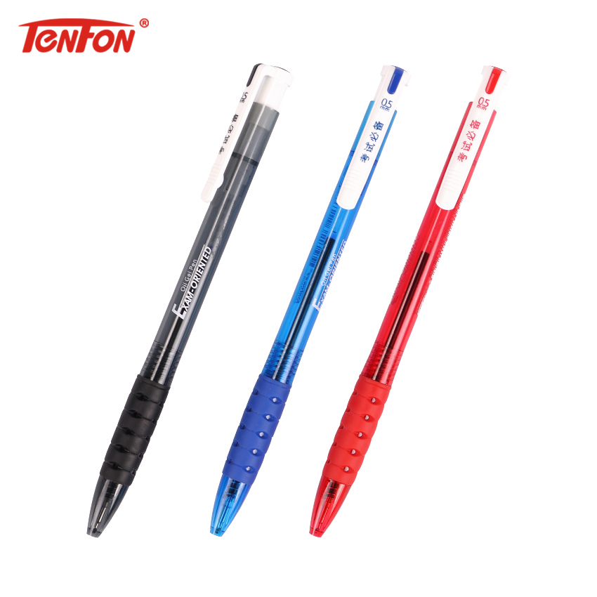 TENFON 1PC New Product 0.5mm Exam Ballpoint Pen 3 Color Plastic Pens Press The Spring Signing Pen Supplies Stationery B-7505