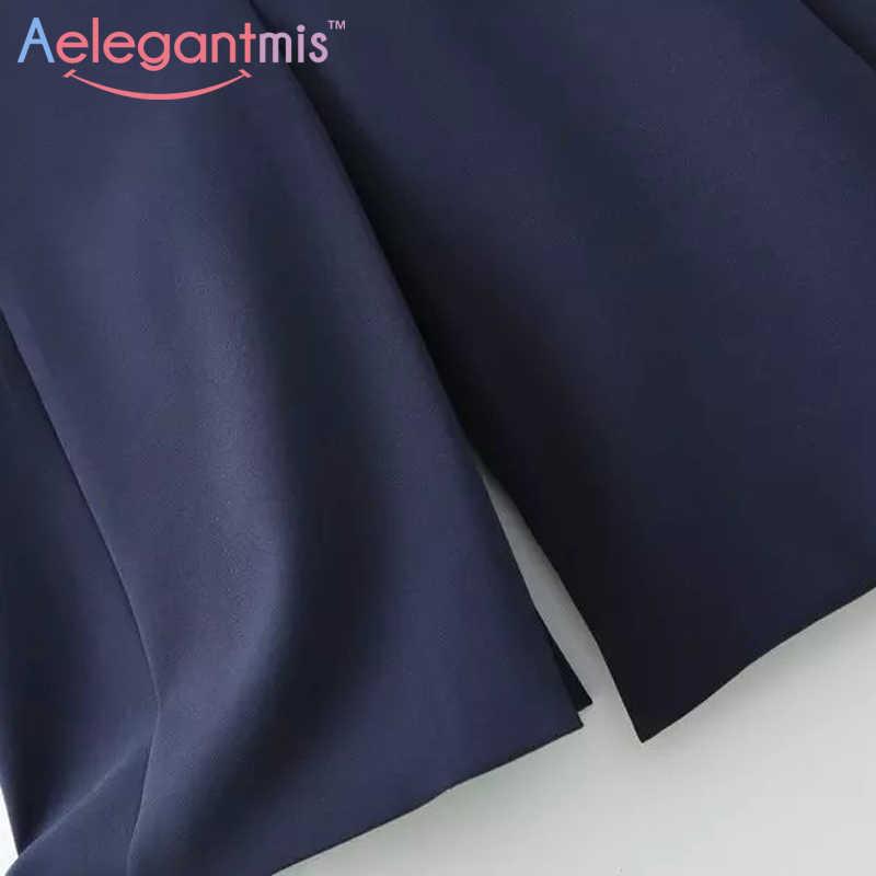 Aelegantmis воротник-стойка Модный черный Блейзер жилет женский длинный жилет OL элегантный кардиган без рукавов пальто Дамы разрез сзади