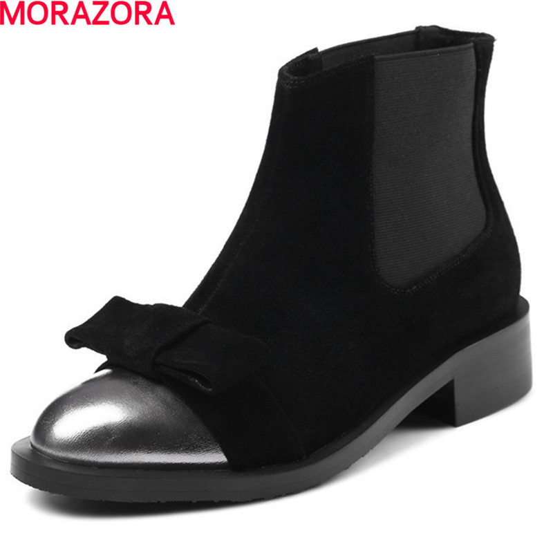 MORAZORA hot sale Cow suede+ Elastic cloth shoes ankle boots for women low heels shoes 3.5cm autumn fashion bowknot boots morazora fashion shoes woman ankle boots for women cow suede med heels shoes in spring autumn boots platform big size 34 44