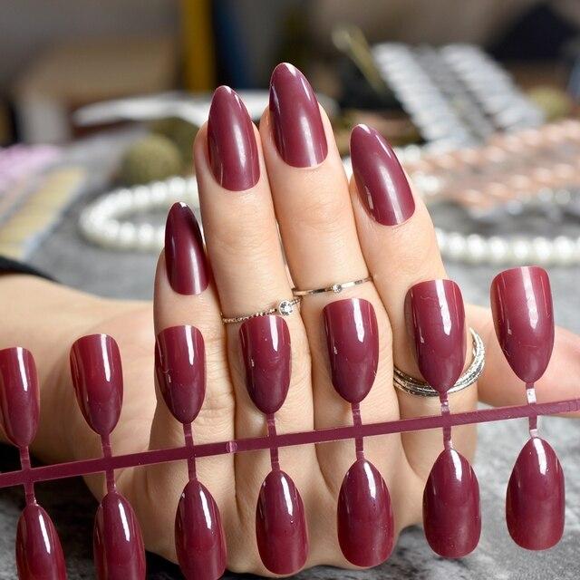 24pcs Darkest Red Short Stiletto Nails Chocolate Acrylic False Nails