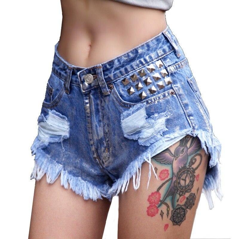 High Quality Sexy Short Jeans Women 2017 Rivet Bronzing Hole Mid Waist Denim Shorts Slim Plus Size Short New Fashion new fashion summer hot jeans women s high waist denim shorts european style lace decoration mini short jeans