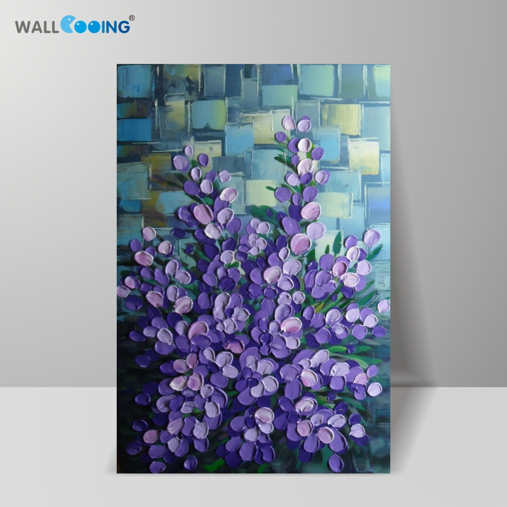 Purple blue petal oil painting ornament artificial hand-painted oil painting hotel decoration wall art painting elegant flower
