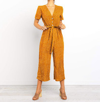 Vintage Boho Jumpsuit Women Polka Dot Printed Elegant Jumpsuit V Neck Wide Leg Pants Long Overalls Bandage Office Wear Playsuit